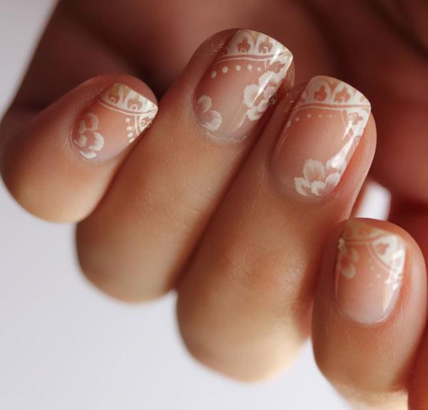 Свадебный маникюр на коротких ногтях