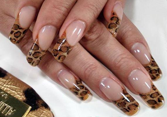 Леопардовый маникюр на длинных ногтях