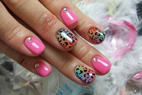 Леопардовый маникюр короткие ногти