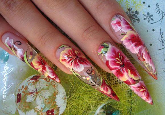 роспись нарощенных ногтей фото