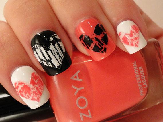 Маникюр на День Влюбленных на коротких ногтях
