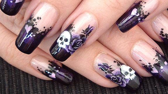 Черный дизайн ногтей
