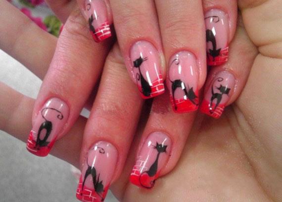 Кошка на ногтях дизайн