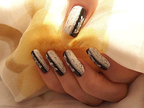 Простые рисунки на ногтях при помощи иголки