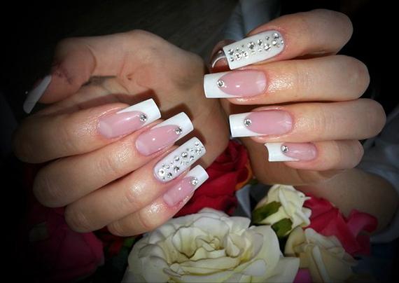 свадебный френч на ногтях