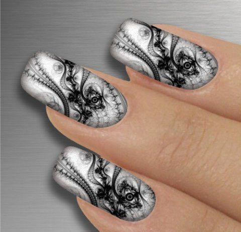 Черно-белый дизайн ногтей - фото