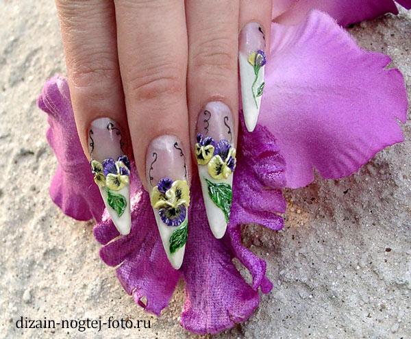 Фото объемного дизайна нарощенных ногтей