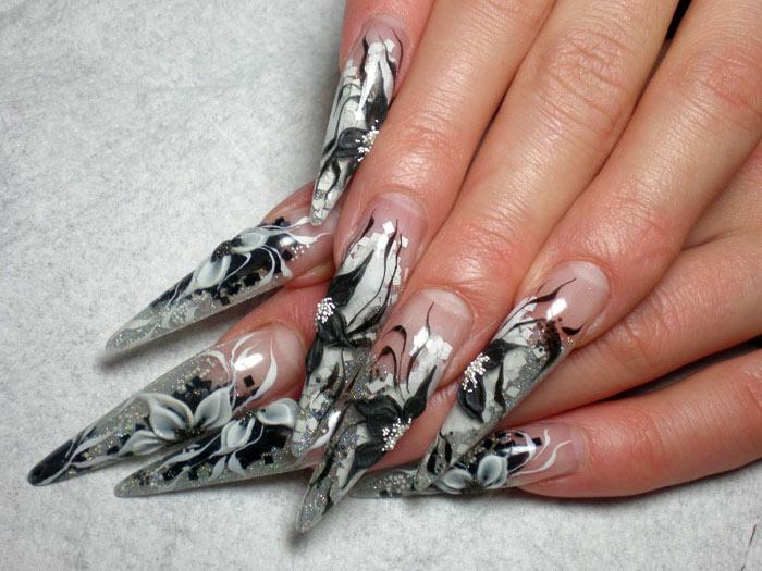 Фото нарощенных ногтей с аквариумным дизайном