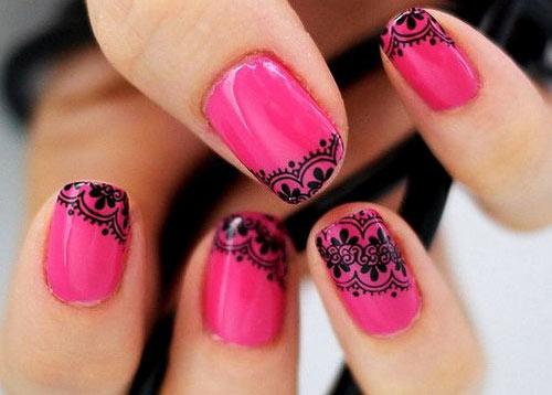 кружева на ногтях розовые