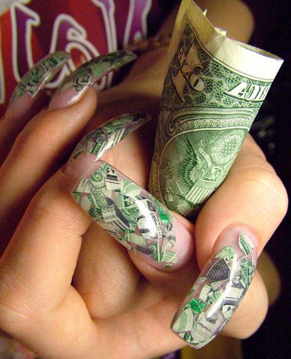 Аквариумный дизайн ногтей с долларом