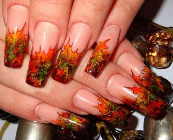 Аквариумный дизайн ногтей осенний