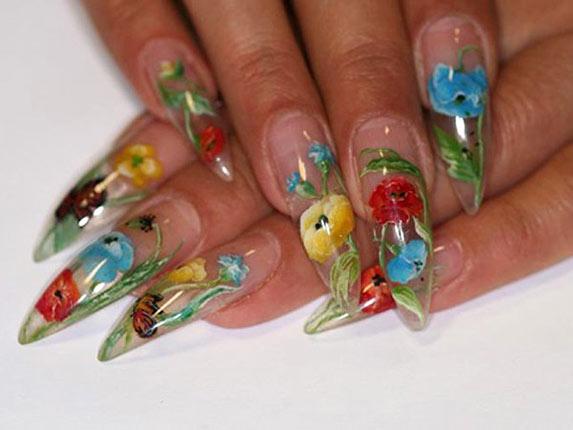Аквариумный дизайн ногтей с маками