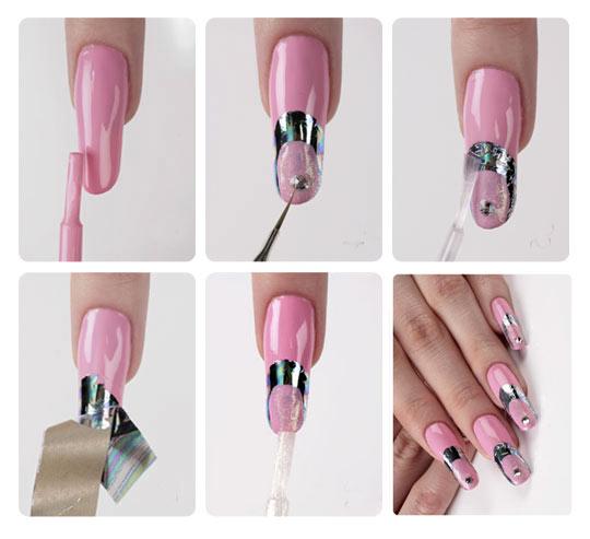 Наращивание ногтей с фольгой