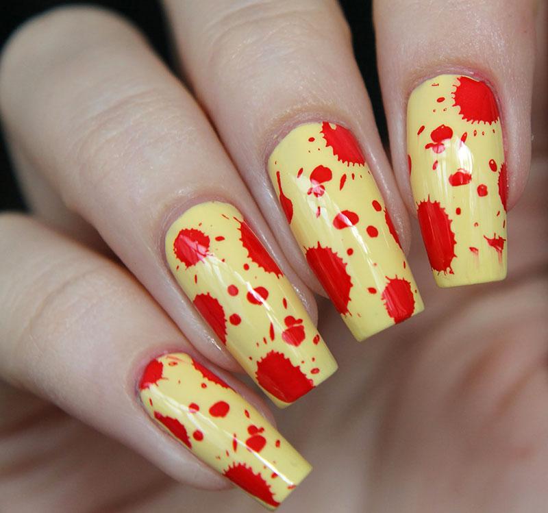 Дизайн ногтей кляксы фото