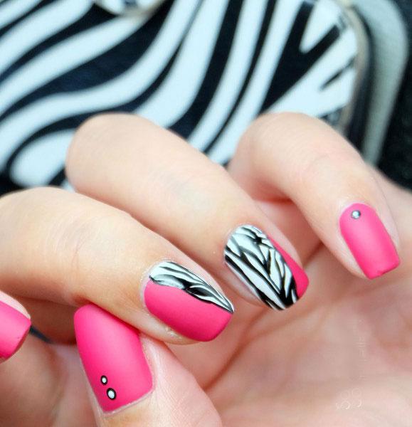 Зебра на ногтях как сделать
