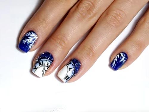 Дизайн ногтей с часами на Новый год