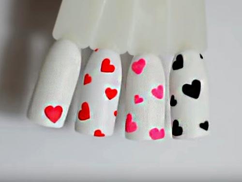 Как нарисовать сердечки на ногтях гель-лаком